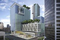 Telus's $750-million 22-storey building includes office and residential space in a formerly ragged block of downtown Vancouver.