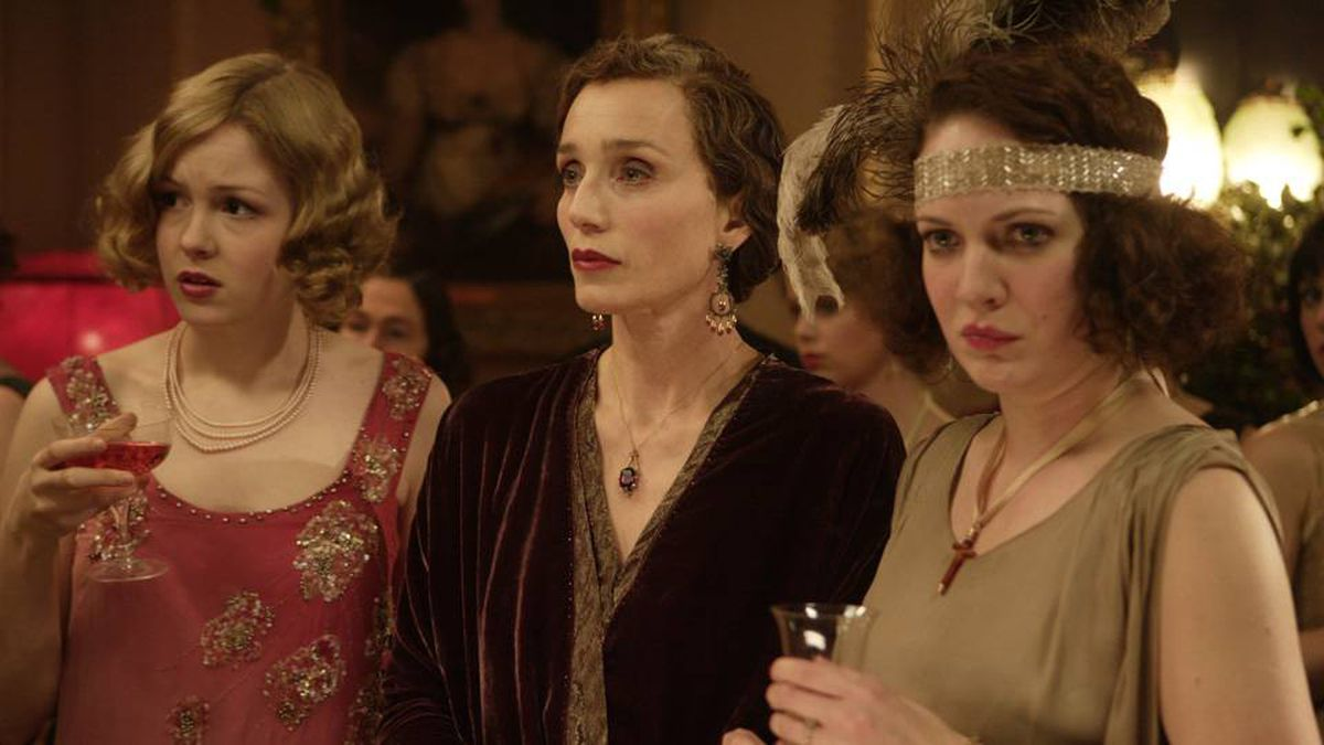 Left to right, Kimberley Nixon (Hilda), Kristin Scott Thomas (the scheming Mrs. Whittaker) and Katherine Parkinson (Marion) in Easy Virtue.