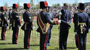 The Duke of Cambridge takes part in the official departure ceremony in Calgary, Alta. on Friday July 8, 2011.