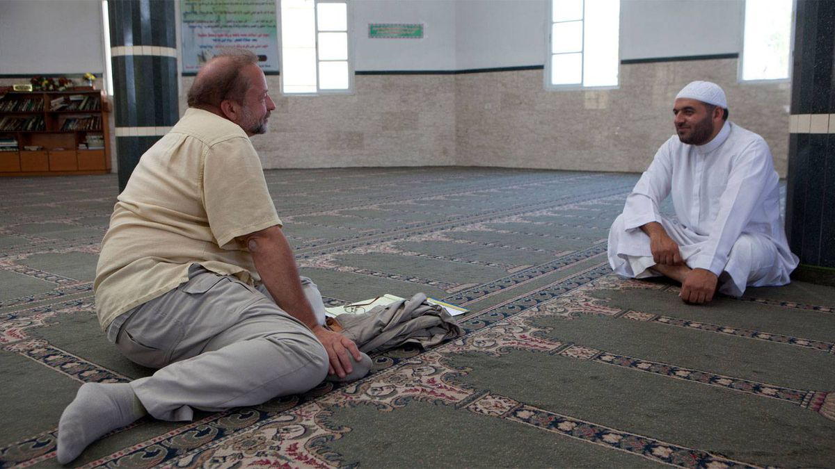 Ayman Batniji , spokesman for the Hamas police and religious leader in the Shouada Al Aqsa Mosque Gaza CIty June 17,2010 durng an interivew with Globe and Mail Middle East correspondent Patrick Martin.