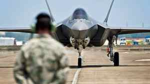 An F-35 Lightning II jet lands at Eglin Air Force Base in Florida on July 14, 2011.
