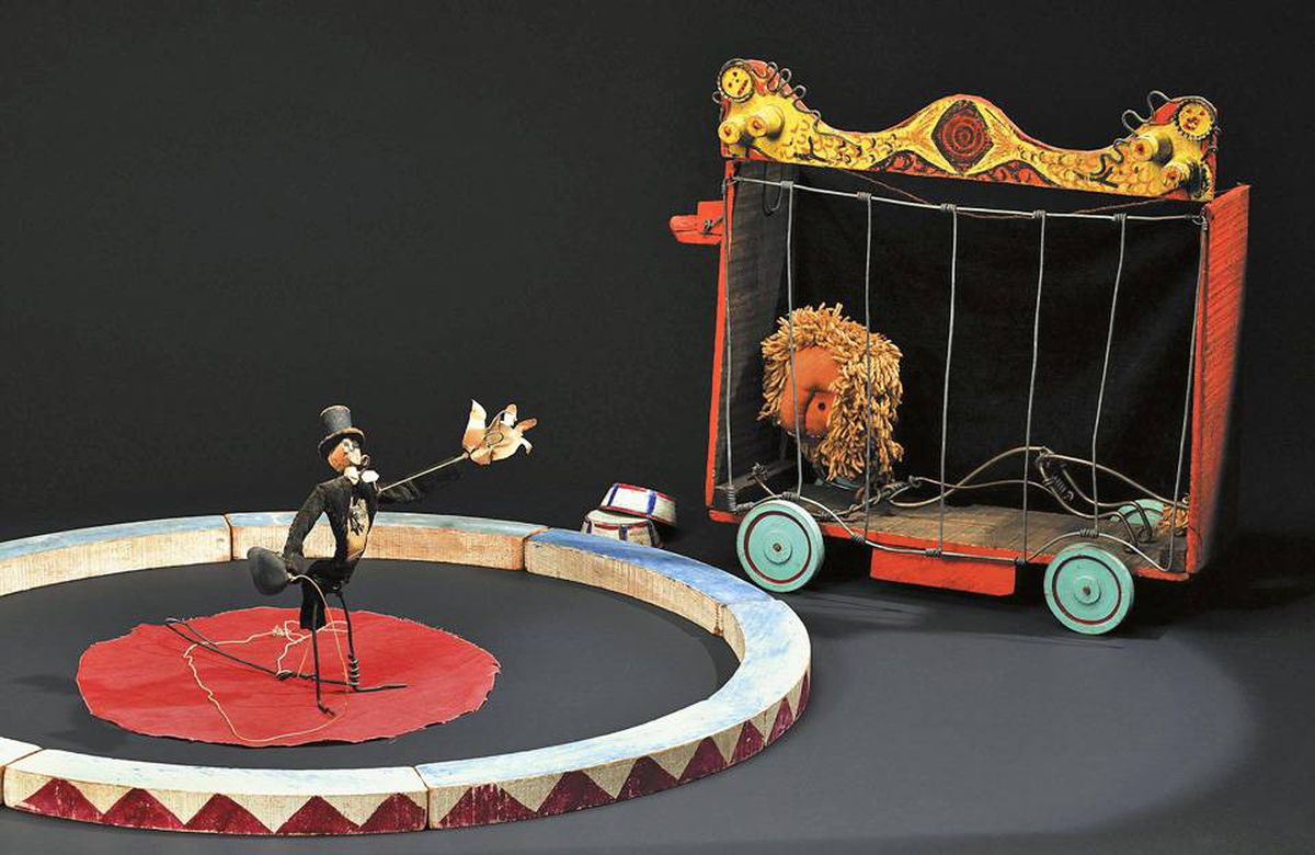 Between 1926 and 1931, Calder made his famed Circus from wire, wood, metal, cloth, yarn, paper, cardboard, leather, string, rubber tubing, corks, buttons, rhinestones, pipe cleaners, and bottle caps, and would stage live performances in New York art galleries and Upper East Side parlours.