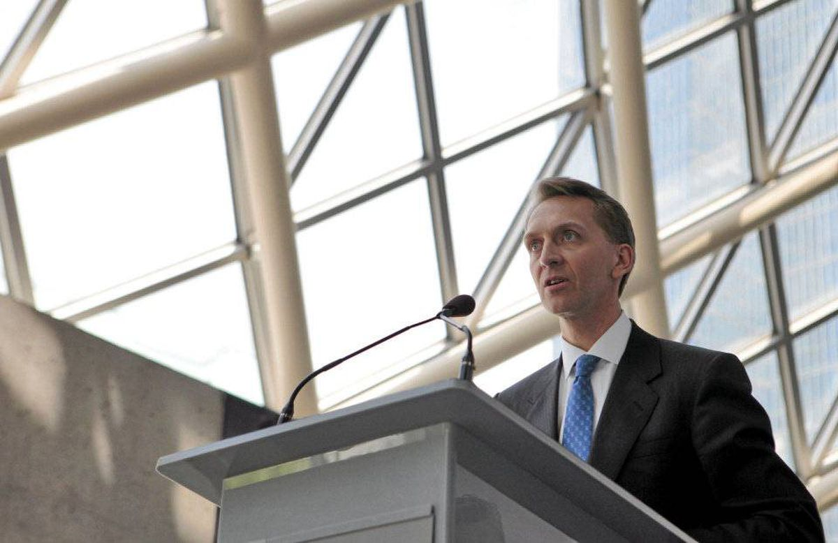 Brookfield Asset Management Inc. Chief Executive Officer Bruce Flatt speaks at their annual general meeting for shareholders in Toronto, May 5, 2010.