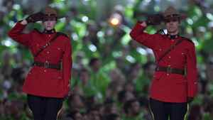 Mounties saluting during the Paralympic Opening Ceremonies in Vancouver March 12, 2010.