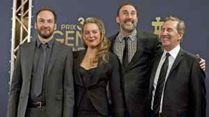 From left, Ken Scott, Julie Breton, Martin Petit and Ryan Ward at the Genies in Toronto, March 8, 2012. Scott and Petit have been honoured by Telefilm Canada for the film 'Starbuck.'