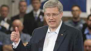 Conservative Leader Stephen Harper speaks at a campaign rally in St John's.