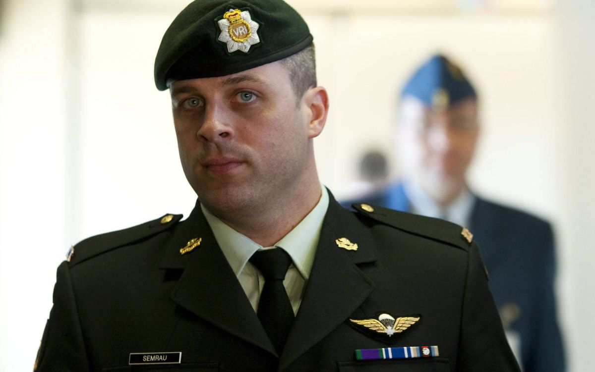 Captain Robert Semrau arrives at his court-martial proceedings in Gatineau, Que. Sean Kilpatrick/The Canadian Press
