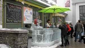 Pop-up ice bars offer Quebec fare - and the legendary Caribou, the potent drink invented to keep the sculptors warm throughout the night.