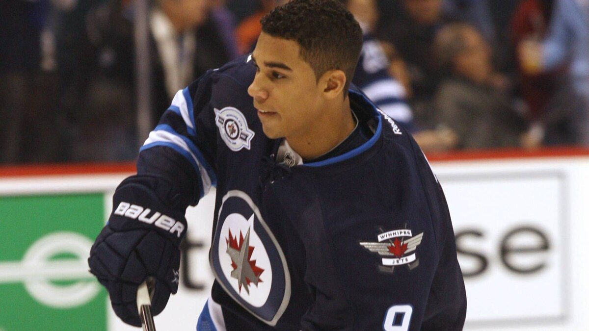 Winnipeg Jets forward Evander Kane(9) before the start of the game against the Montreal Canadiens at the MTS Centre. Mandatory Credit: Bruce Fedyck-US PRESSWIRE