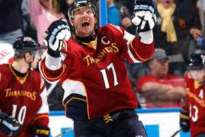 Ilya Kovalchu, seen celebrating a goal in an October 22 game, has been speaking with the Atlanta Thrashers about a long-term contract.