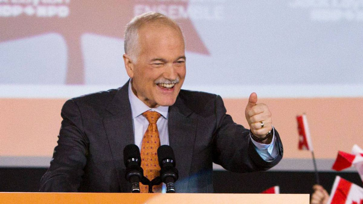 New Democratic Party leader Jack Layton speaks to supporters in NDP headquarters in Toronto on Monday, May 2, 2011.