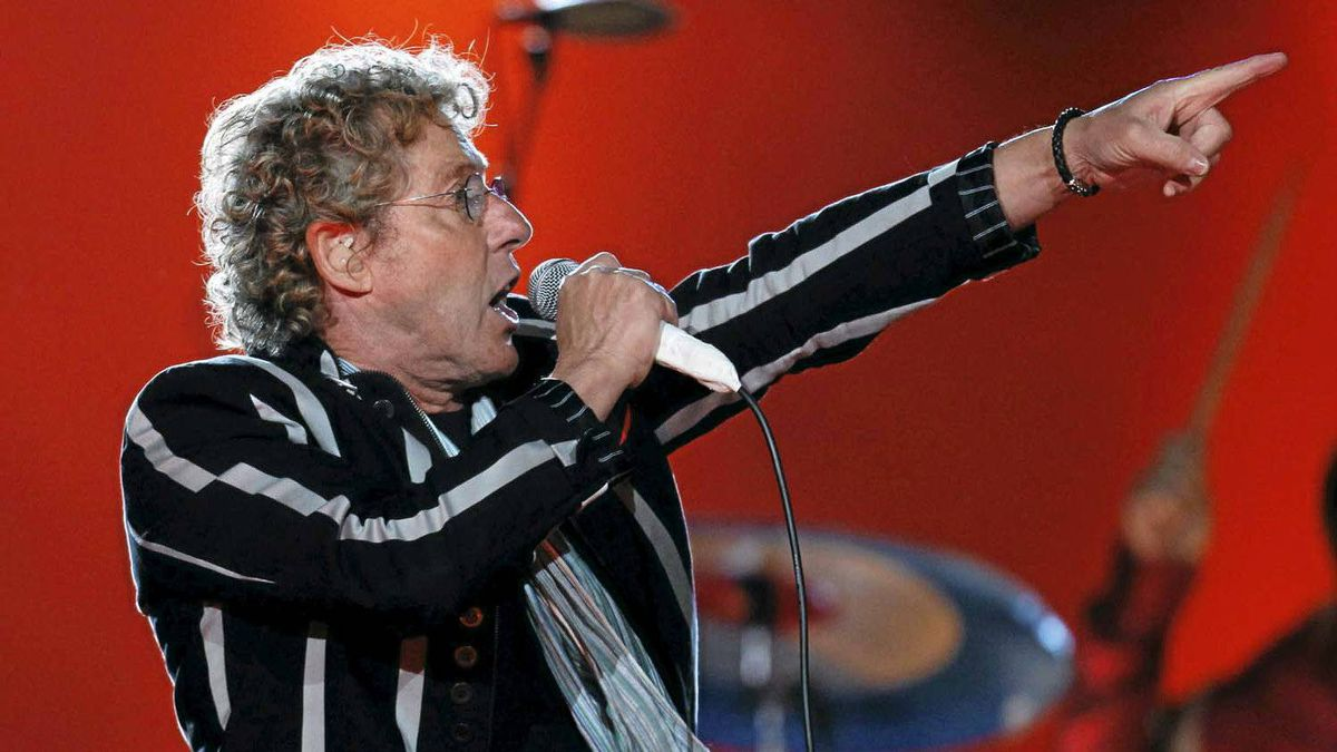 Roger Daltrey of The Who gestures after performing during the halftime show for the NFL's Super Bowl XLIV football game between the New Orleans Saints and the Indianapolis Colts in Miami, Fla., on Feb. 7, 2010.