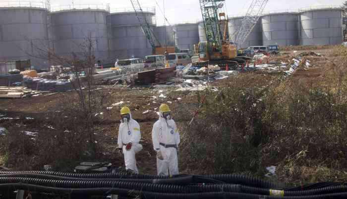 Water tanks are seen at Tokyo Electric Power Co. tsunami-crippled Fukushima Daiichi nuclear power plant in Fukushima prefecture February 28, 2012.