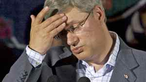 Prime Minister Stephen Harper wipes his brow as he addresses supporters in Forties, N.S., on Aug. 18, 2010.