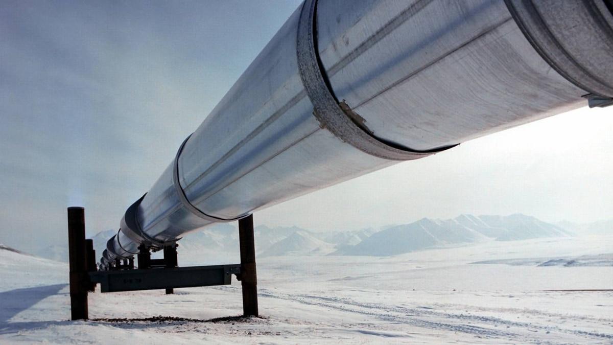 The Trans Alaska oil pipeline.