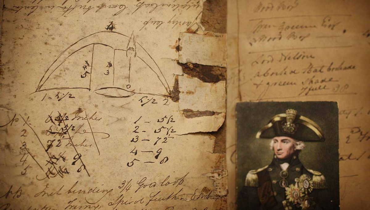 The original design and a bill of sale from 1805, right, for Admiral Horatio Nelson's hat.