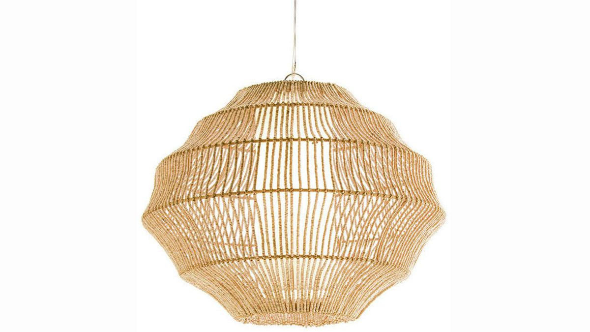 Barrymore's natural pendant lantern is made from coconut beads threaded onto delicate string around a central light shade. $1,440 through www.barrymorefurniture.com.