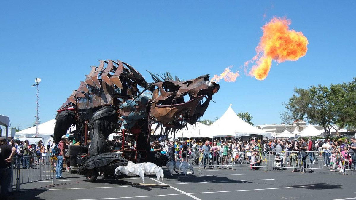 Gon KiRin is one of Maker Faire's numerous fire-art installations, a nearly 60-foot long dragon built on the frame of a circa 1963 dump truck.