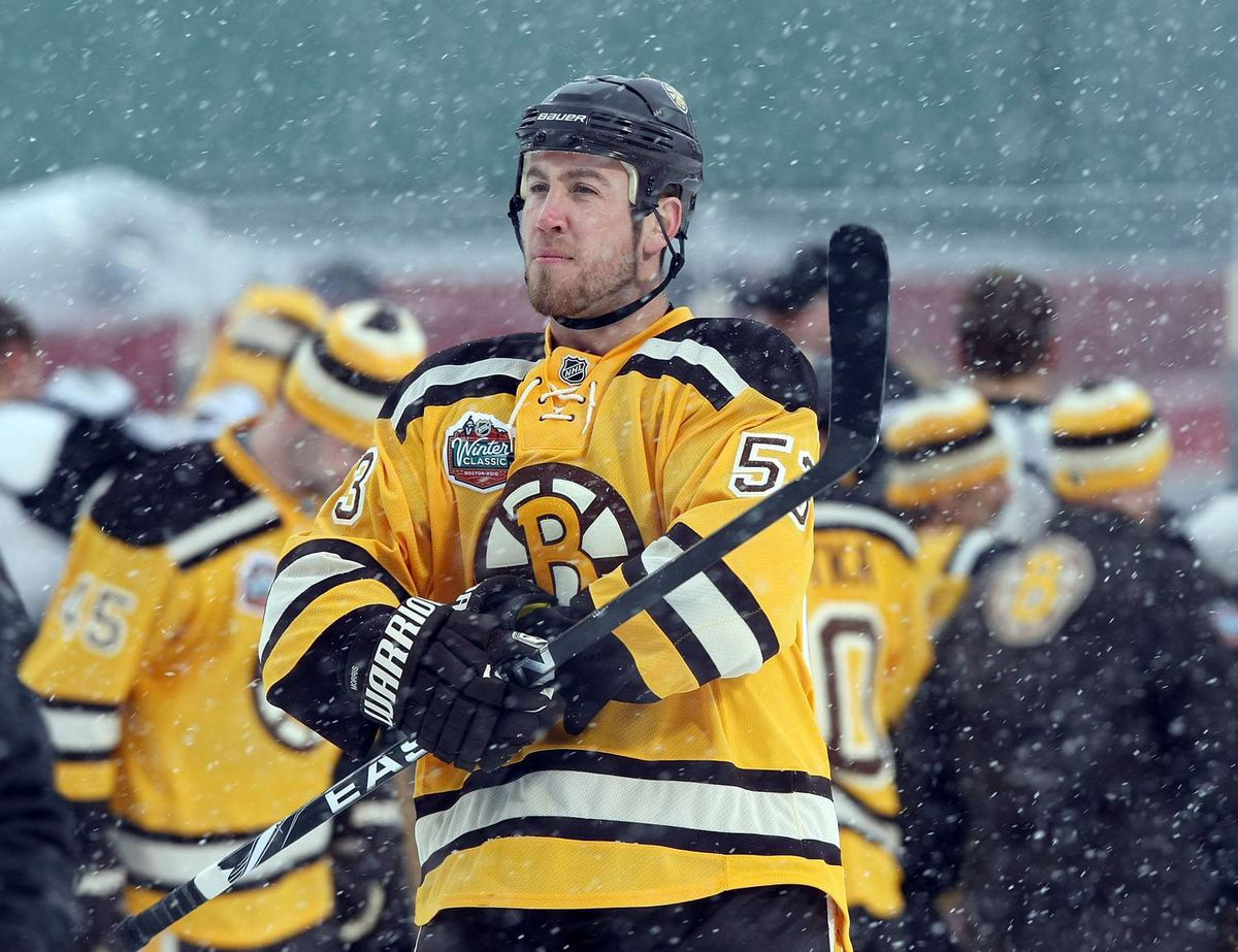 Derek Morris #53 of the Boston Bruins looks on before practice for the Bridgestone NHL Winter Classic on December 31, 2009 at Fenway Park in Boston, Massachusetts. (Photo by Elsa/Getty Images)