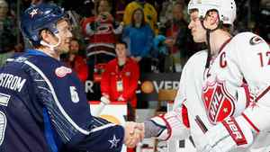 Team Lidstrom captain Nicklas Lidstrom #5 of the Detroit Red Wings shakes hands with Team Staal captain Eric Staal #12 of the Carolina Hurricanes after Team Lidstrom defeated Team Staal 11 to 10 in the 58th NHL All-Star Game at RBC Center on January 30, 2011 in Raleigh, North Carolina. (Photo by Kevin C. Cox/Getty Images)