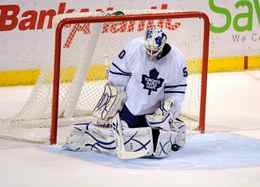 Toronto Maple Leafs goalie Jonas Gustavsson makes a save during the first period of their NHL hockey game against the Florida Panthers in Sunrise, Florida on Friday night.
