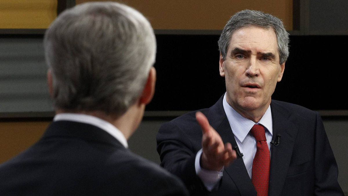 Liberal leader Michael Ignatieff, right, gestures to Prime Minister Stephen Harper as the debate during the English language federal election debate in Ottawa Ont., on Tuesday, April 12, 2011.