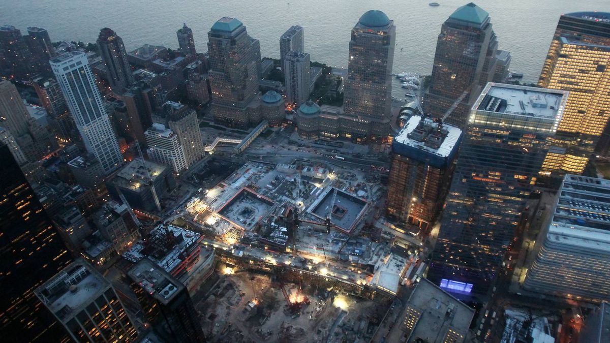 Construction continues at the World Trade Center site with memorial footprints of the Twin Towers visible Sept. 7, 2010, in New York City.