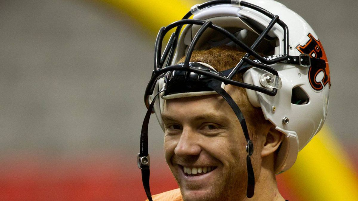 B.C. Lions' quarterback Travis Lulay smiles during football practice in Vancouver, B.C., on Wednesday November 23, 2011.