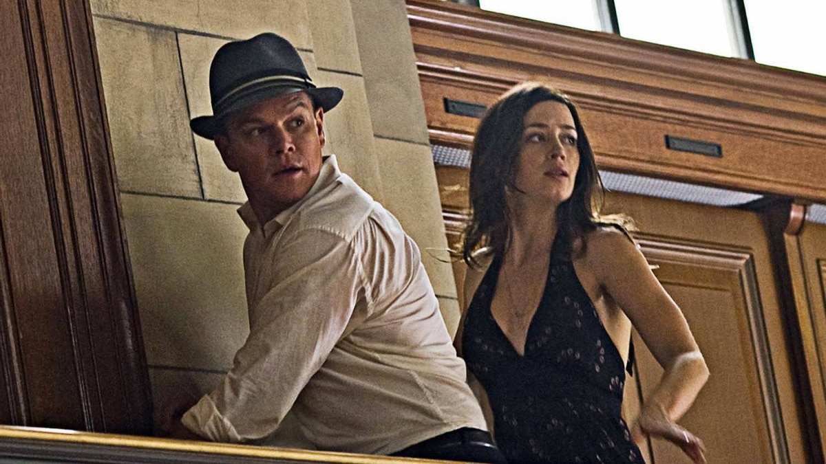 "Matt Damon and Emily Blunt in a scene from ""The Adjustment Bureau"""