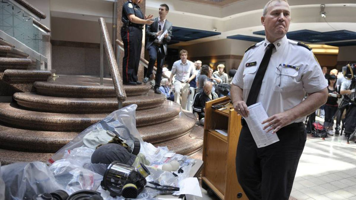 Toronto Police Chief Bill Blair during a Tuesday press conference in the lobby of police headquarters at 40 College St. in Toronto.