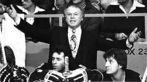 Boston Bruins coach Don Cherry during a hockey game at Maple Leaf Gardens in Toronto. (1978)