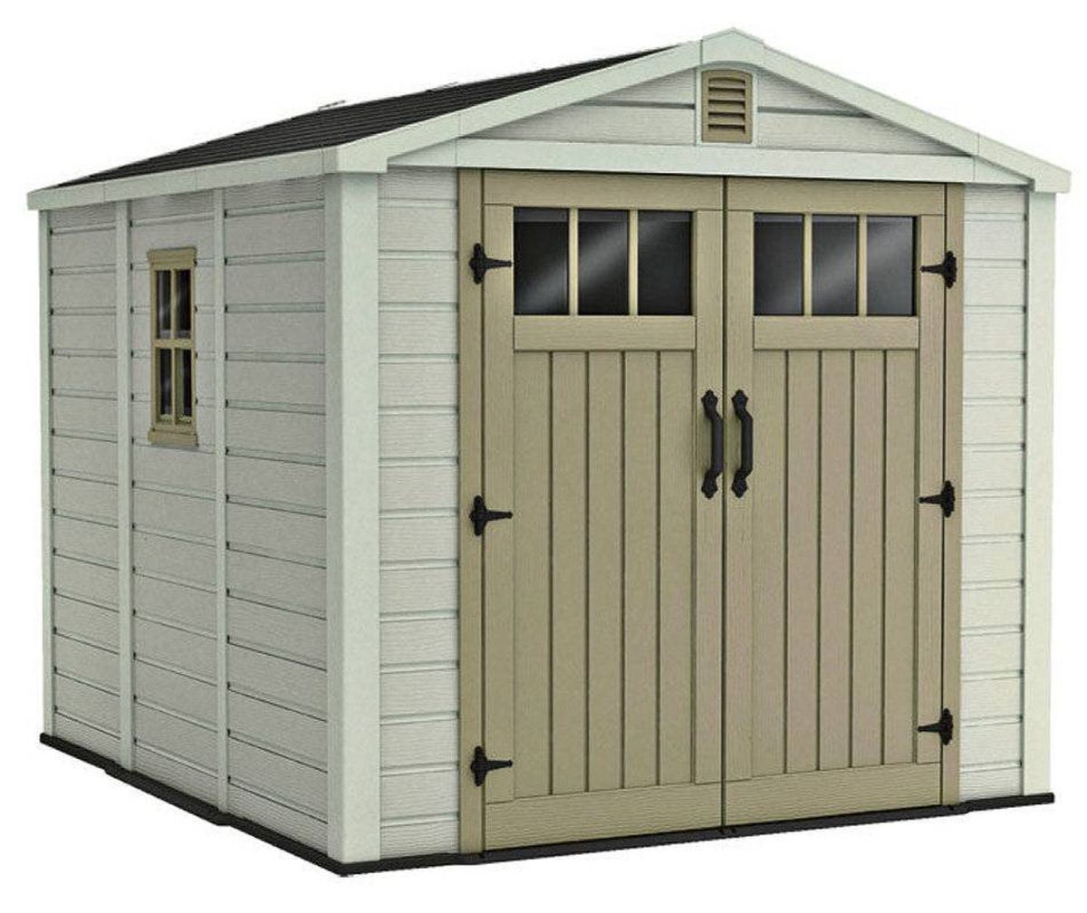 Keter's eight-by-nine-feet Infinity shed is constructed from extra-thick premium resin with a wood-like texture and features a built-in ventilation and water-collection system. $999.99 at Canadian Tire (www.canadiantire.ca).
