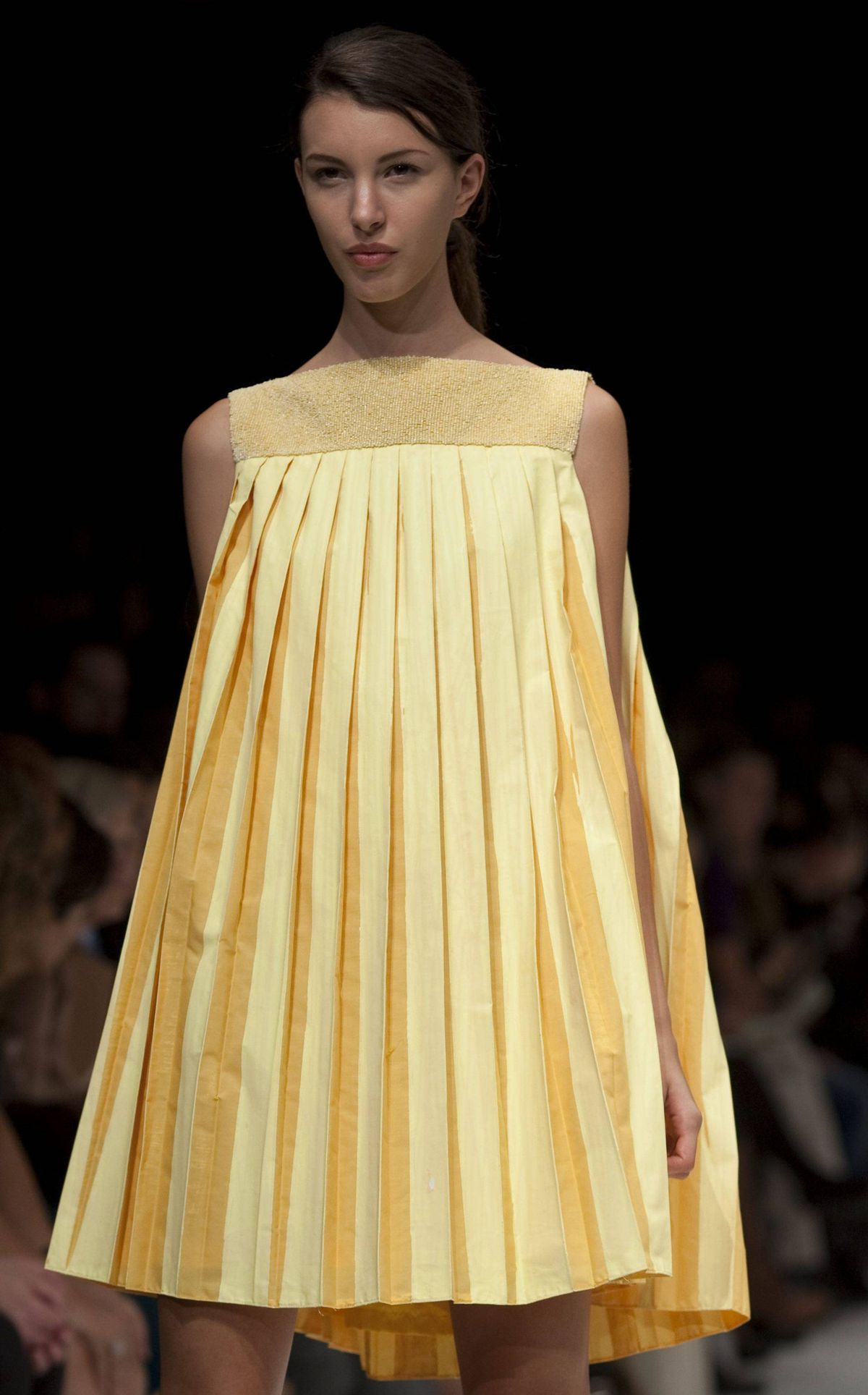 Nods to the 1960s also popped up – must be a Mimran thing – by way of pleated baby-dolls in a fan of pastel pantones.