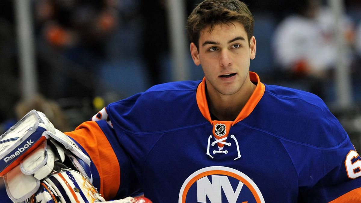 In this photo taken Feb. 5, 2011, New York Islanders goalie Kevin Poulin (60) before the start of the NHL hockey game against the Ottawa Senators in Uniondale, N.Y.