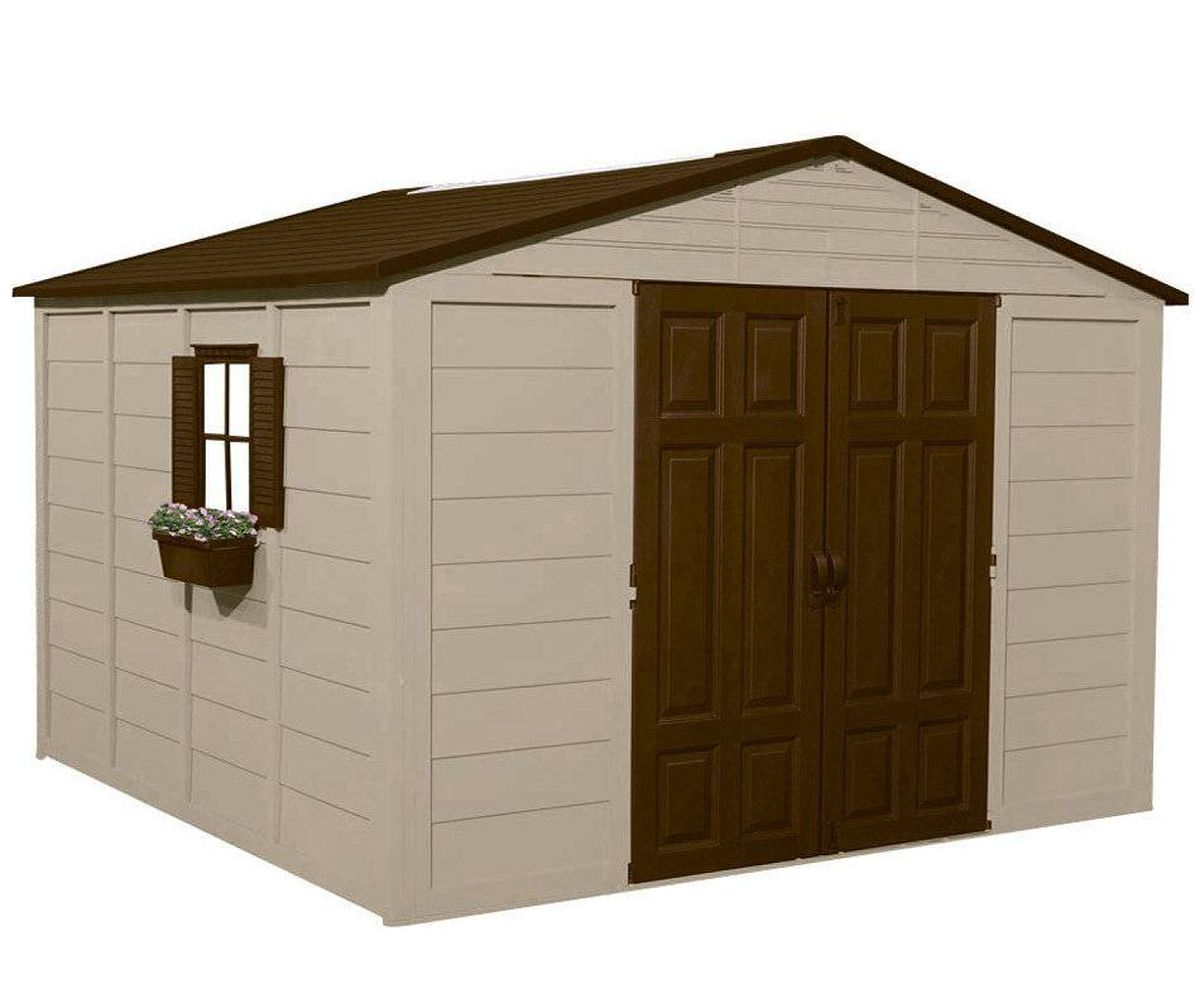 Suncast's 10-by-10-feet garden shed boasts large resin panels for quick assembly and an extra-wide front opening for easy loading of oversized equipment. $1,499 at Rona (www.rona.ca).