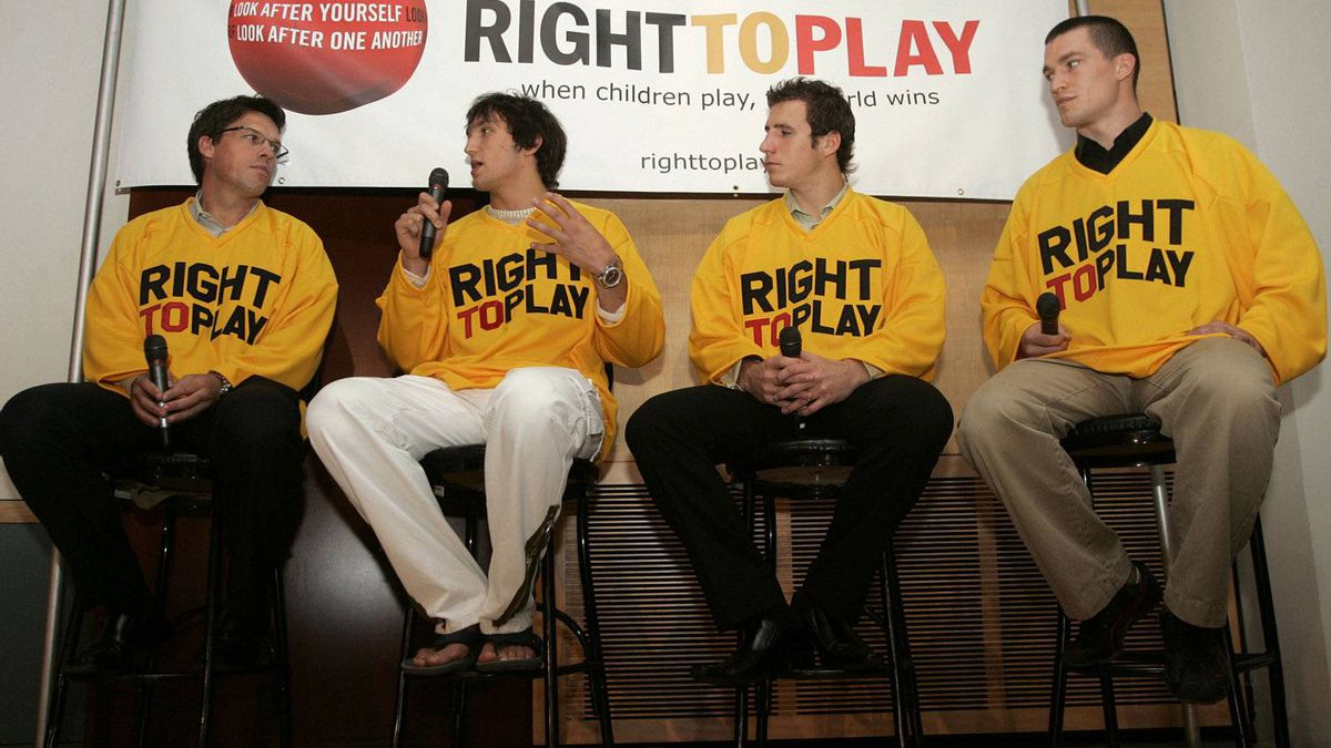 From left to right, former Norwegian Olympian Johann Olav Koss, Alexander Ovechkin of the Washington Capitals, Alexander Steen of the Toronto Maple Leafs and Andrew Ference of the Calgary Flames talk to the media after joining the athlete-driven international humanitarian organization Right To Play as athlete ambassadors on Tuesday, Sept 6, 2006 at the Hockey Hall of Fame in Toronto, Ont. (CP PHOTO/Nathan Denette)