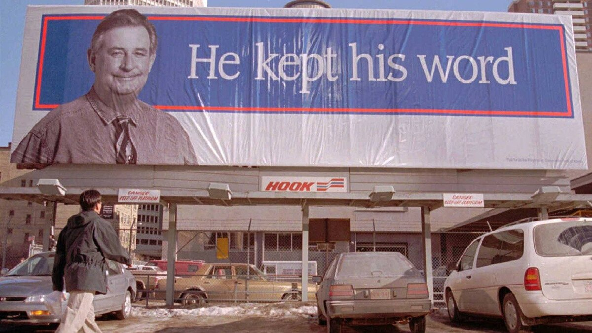 Before Mr. Klein announced an election, the campaign was well underway in 1997. Two huge billboards were erected in Edmonton and Calgary hinting at the upcoming election.