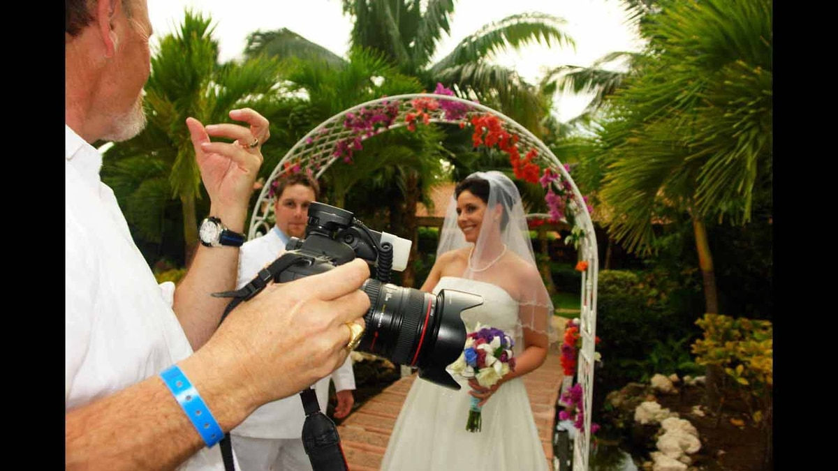 A photo of self taking wedding photos on the Dominican Republic at exactly 5 p.m. when the great quake struck Port-au-Prince. We were lucky to ever leave the island alive.