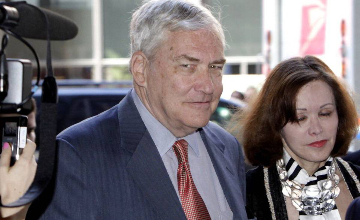 Conrad Black arrives at the federal courthouse with his wife Barbara Amiel Black Friday, July 23, in Chicago.