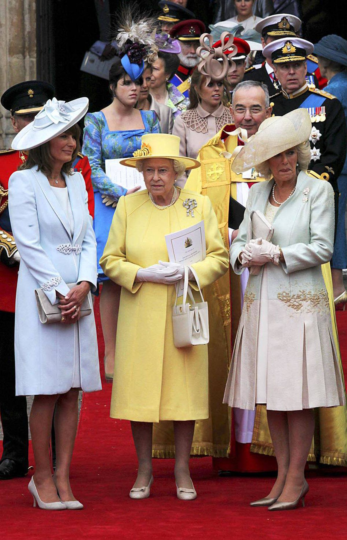 Carole Middleton, the Queen and Camilla, Duchess of Cornwall speak following the marriage of Prince William, Duke of Cambridge and Catherine, Duchess of Cambridge at Westminster Abbey on April 29, 2011 in London, England.