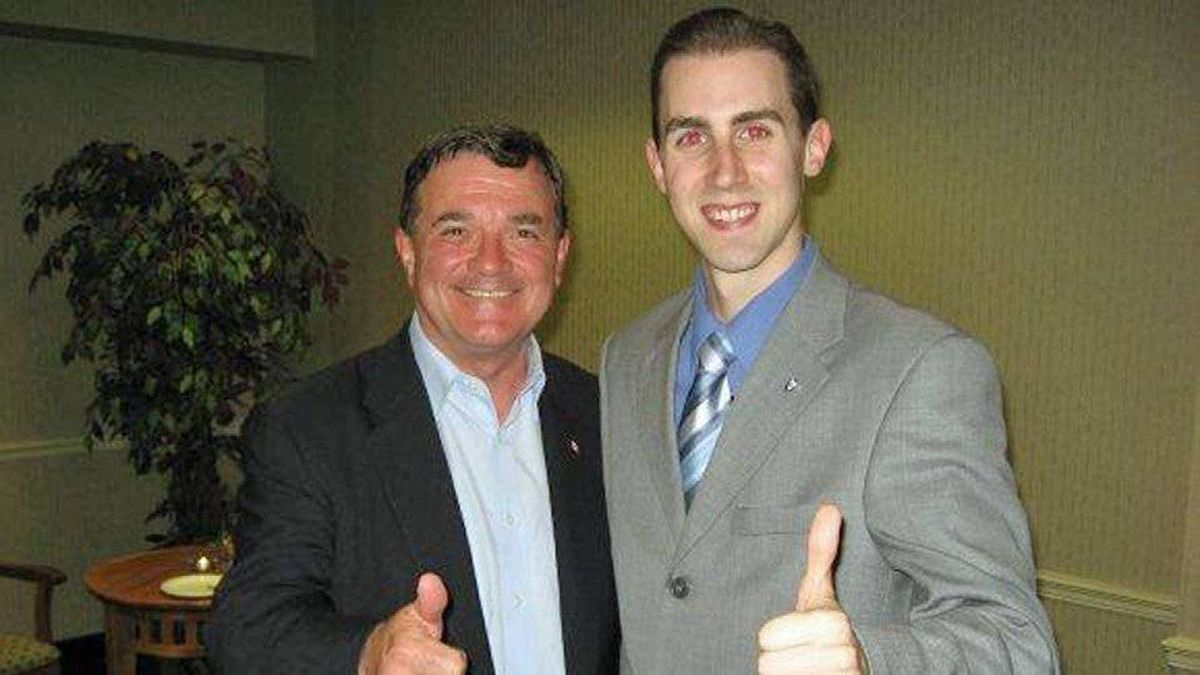 Tory staffer Michael Sona hams it up with Finance Minister Jim Flaherty in an undated photo taken from his Facebook page.