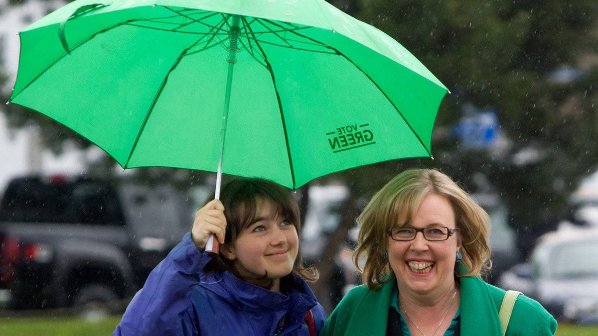 Green Party leader Elizabeth May, right, and her daughter Victoria Cate May Burton arrive at a polling station to cast their votes in the federal election in Sidney, B.C., on Monday May 2, 2011.