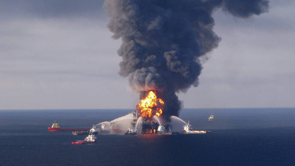 File picture: Fire boat crews battle the blazing remnants of Transocean's Deepwater Horizon rig.