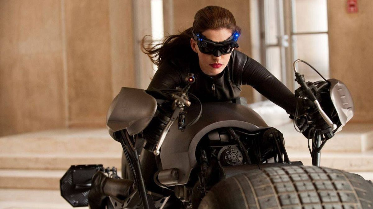 Anne Hathaway as Catwoman in The Dark Knight Rises.