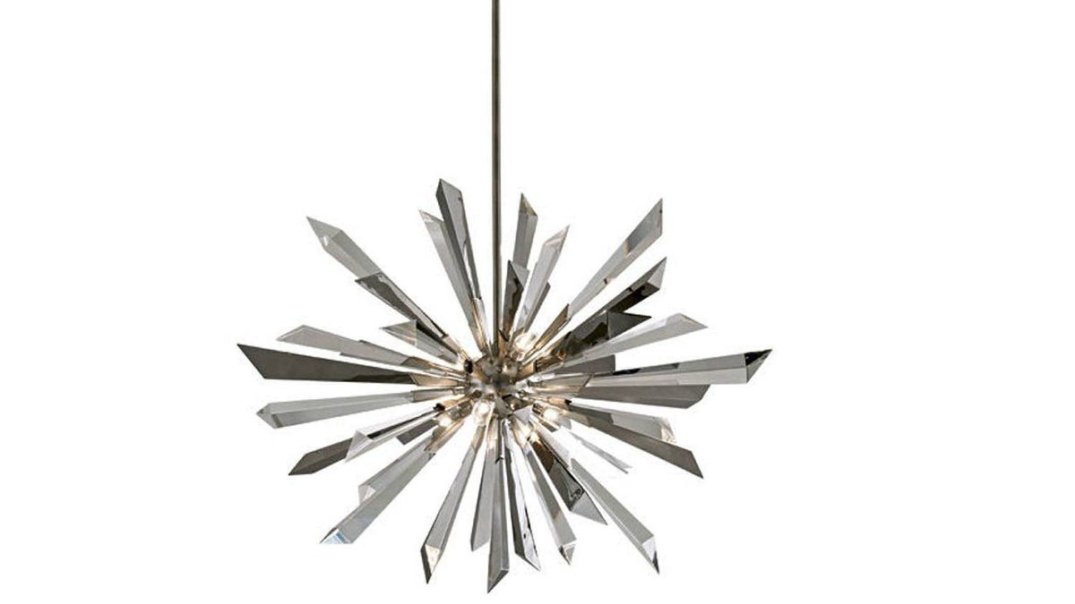 LIGHT BRIGHT Corbett Lighting's Inertia pendant lamp with stainless-steel prisms and crystals, from $2,000 at select lighting stores across Canada (visit www.corbettlighting.com for retailers).