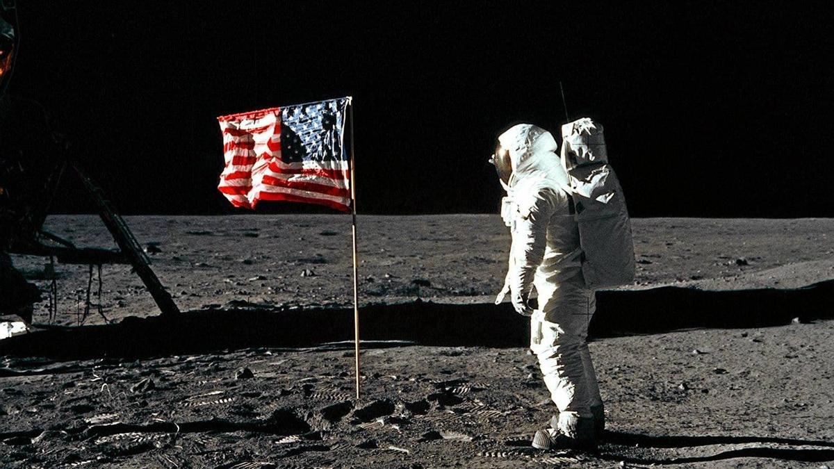 Apollo 11 - Buzz Aldrin and the U.S. flag on the Moon.
