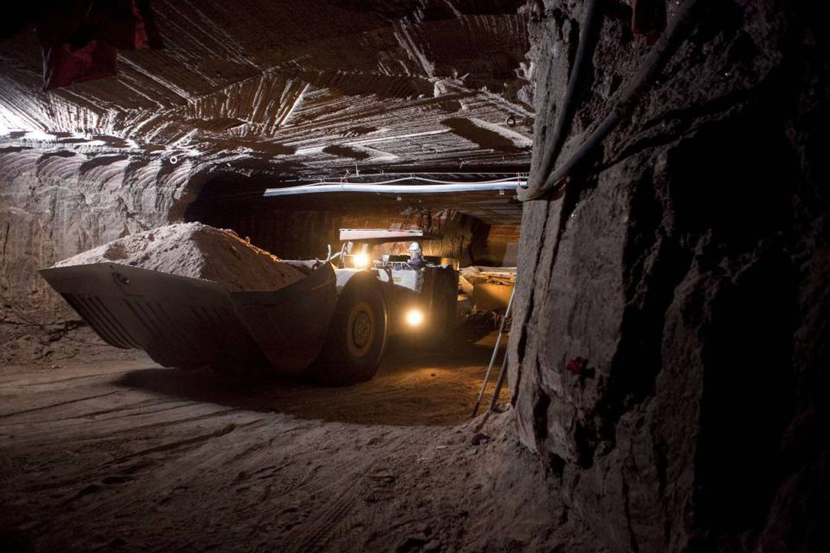 A front loader filled with potash in the Mosaic's Colonsay mine in Saskatchewan.