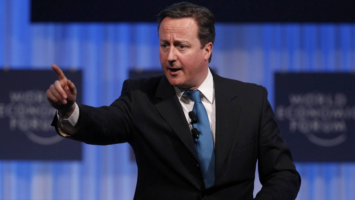 Britain's Prime Minister David Cameron addresses a session at the World Economic Forum (WEF) in Davos, January 26, 2012.