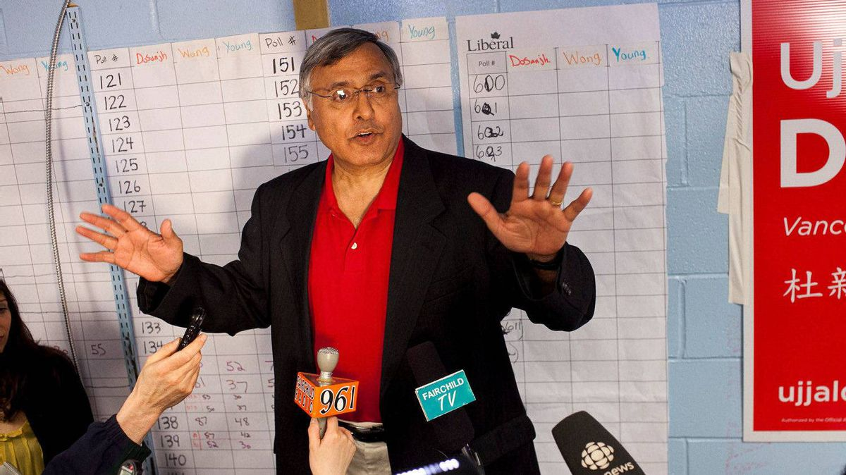 Vancouver South Liberal MP Ujjal Dosanjh speaks to his supporters and media gathered at his campaign headquarters after conceding to Conservative Wai Young Monday night.