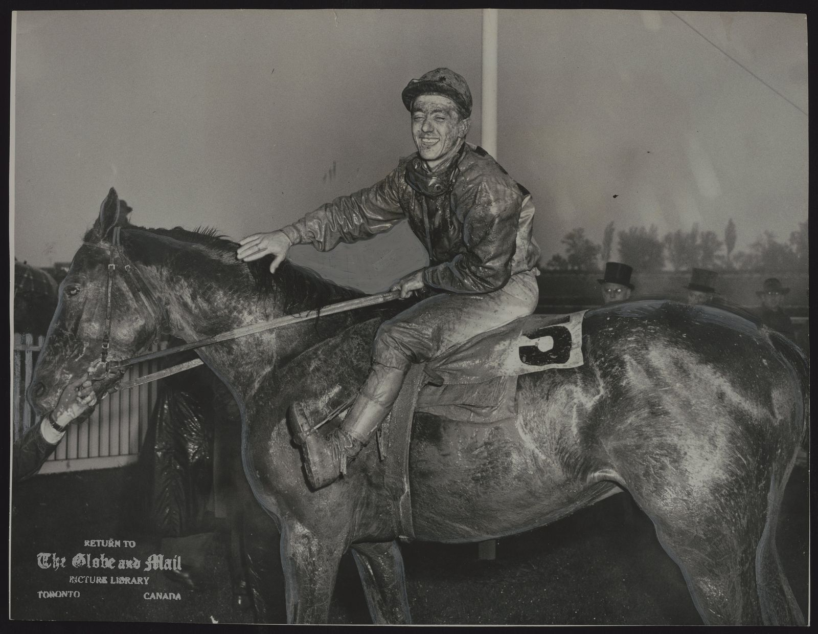 EPIGRAM (Racehorse) Tired pair were Epigram, Queen's Plate winner at the Woodbine, and Jockey Gil Robillard. Epigram came from a long way behind to win. Jockey and horse got a mud bathe from the field as they pounded over the wettest track in years.